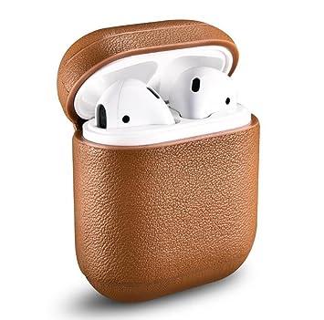 Caja de carga para auriculares inalámbricos AirPods, carcasa protectora de cuero en cuero de litchi genuino de alta calidad: Amazon.es: Electrónica
