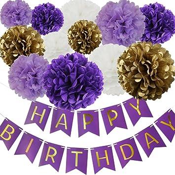 Amazon Happy Birthday Party Decoration Kit Purple Happy