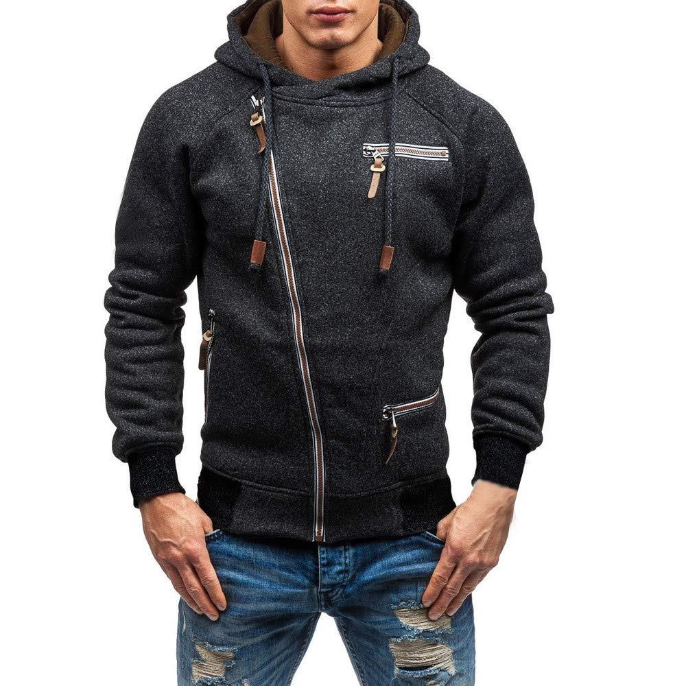 BHYDRY Mens Hoodies Long Sleeve Zipper Hooded Sweatshirt Outwear Solid Cotton Blend Tops Blouse
