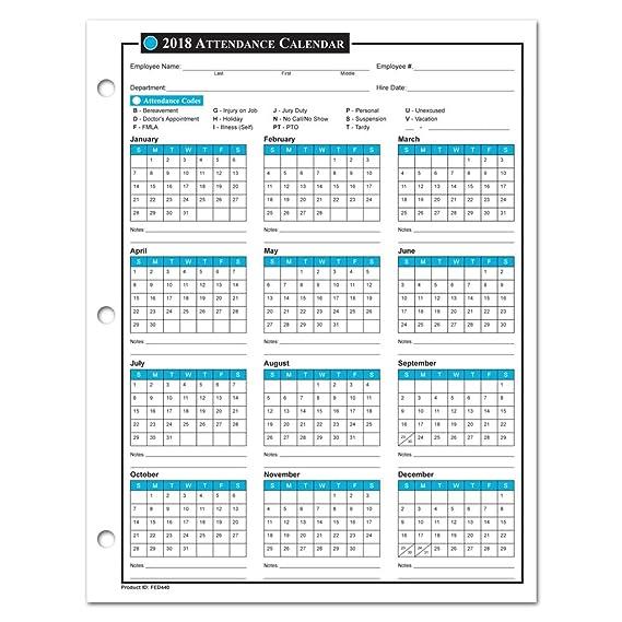 2018 employee attendance calendar
