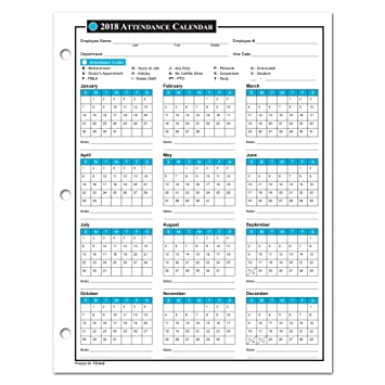 free printable employee attendance calendar 2018. Black Bedroom Furniture Sets. Home Design Ideas