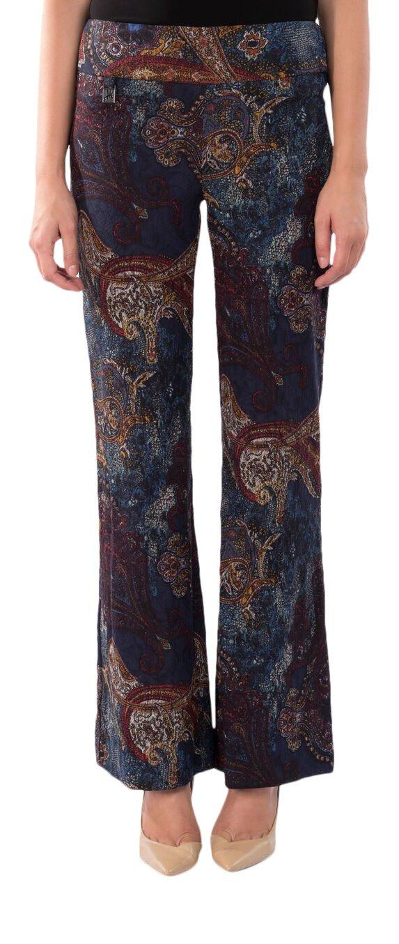 Joseph Ribkoff Wide Leg Paisley Print Stretch Pant - Style 174638 - Size 4 by Joseph Ribkoff