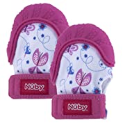 Nuby Soothing Teething Mitten with Hygienic Travel Bag, Pink (2 Pack)