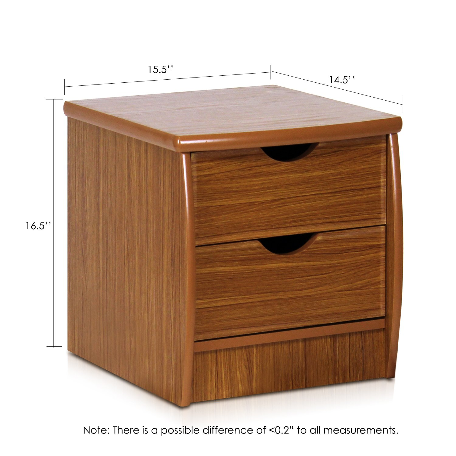 Furinno FNAK-11173EX Simple Design Bedside 2-Drawer Chest, Cherry by Furinno (Image #2)