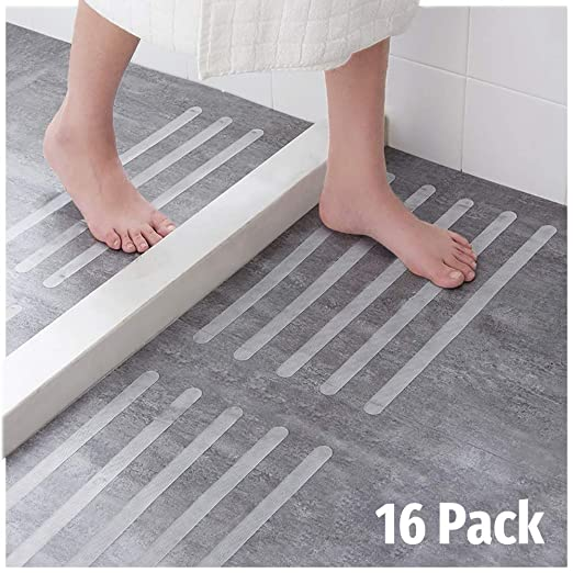 Ecooe 16x Anti-Rutsch Streifen für Treppen,Duschen & Badewannen Selbstklebender Rutschschutz 45cm lang 2cm breit Transparent