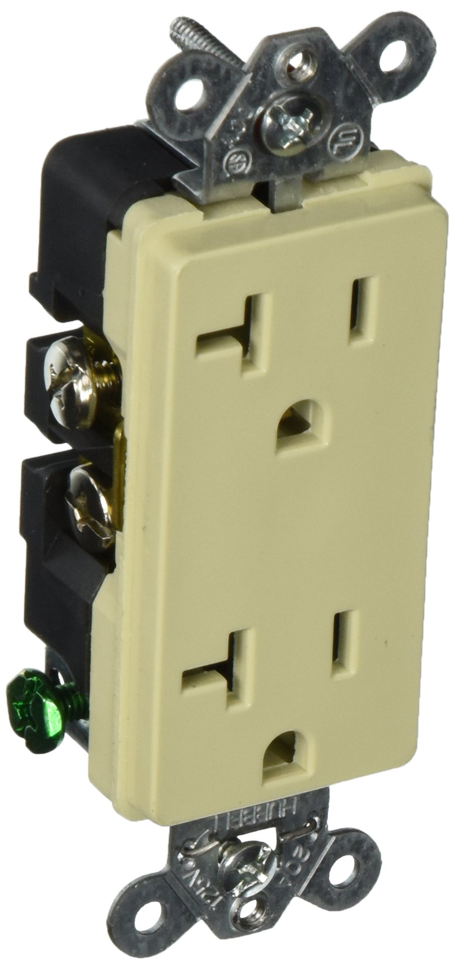 Hubbell HBL2162I Decorator-Style Duplex Receptacle, 20 amp, 125V, 5-20R, Ivory