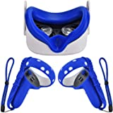 XIAOGE Silicone Controller Grip Cover for Oculus Quest 2 with Face Cover Combo, VR Headset Accessories Sweatproof Anti Collis