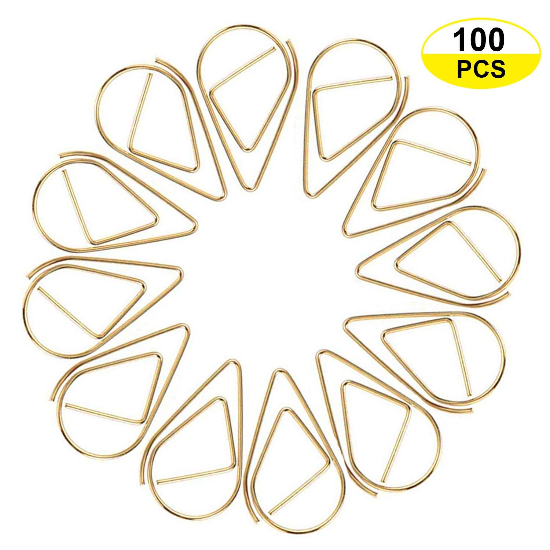 Papier JUYOO 100pcs Wasser Tropfen Form Lesezeichen Metall Golden f/ür Buch Foto Memo Poster B/üroklammer