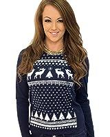 Womens Reindeer Long Sleeve T-shirt Top - Navy - Comfy alternative to the Christmas Jumper