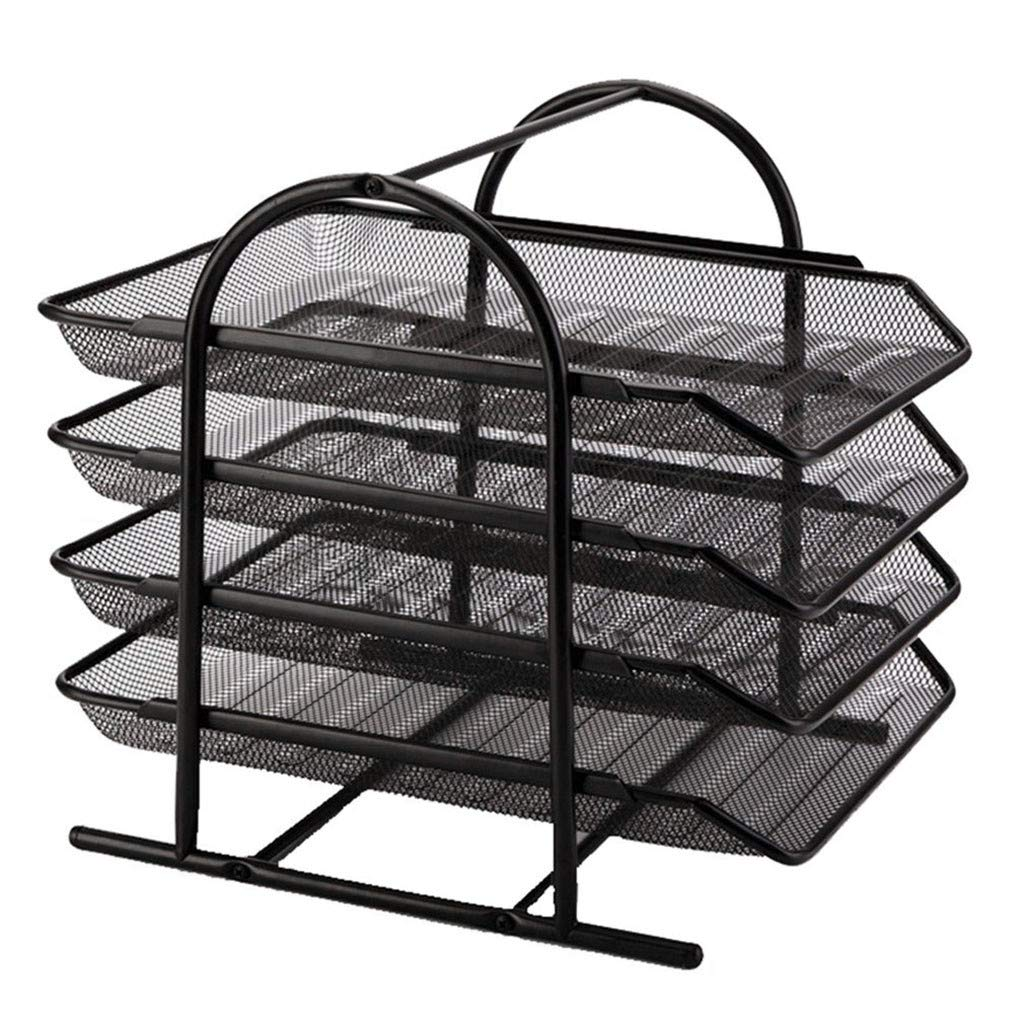 4-Tier File Rack Metal Mesh Letter Tray Scratch-Resistant Stackable Organizer data rack for Home Office & Stationery Space-saving Functionality by Mjuan