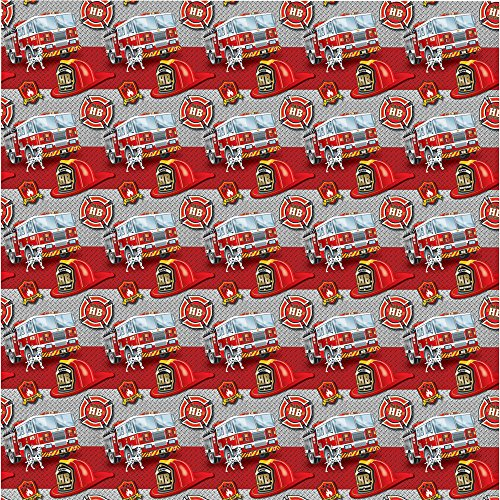 Fire Truck Birthday Wrapping Paper