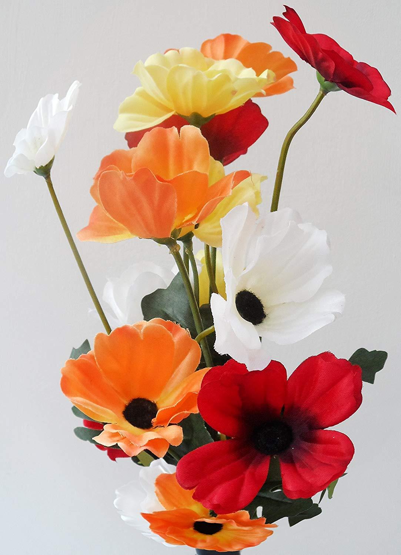 One wild meadow poppy spray silk flower stem with 4 heads quality one wild meadow poppy spray silk flower stem with 4 heads quality artificial flowers in a mightylinksfo