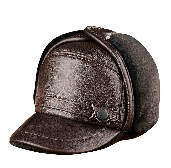 ZHMIAO Berretto Da Baseball Cap Bill Snapback  Berretto Da Baseball  Cappellino  Invernale In Pelle e1f6ad020971