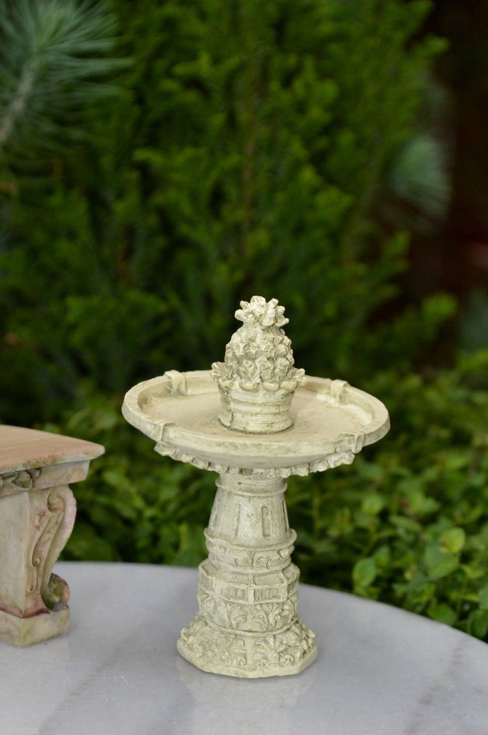 Miniature Dollhouse Fairy Garden Antiqued Ivory Resin Pineapple Fountain by Miniature