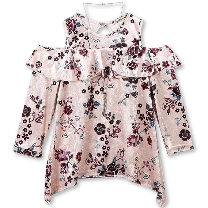 1489ca34e7349e Amazon.com  Speechless Girls  Big Velvet Cold-Shoulder Top
