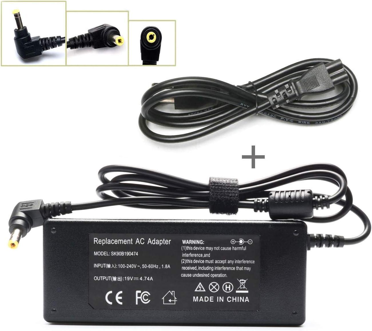 90W L305 L305D L455 L505 Ac Adapter Laptop Charger for Toshiba Satellite L505D L635 L645 L655 L655D L745 L755 L775 L855 L875 A105 A135 C655 C675 C850 C855; PA3714U-1ACA PA5035U-1ACA Power Cord