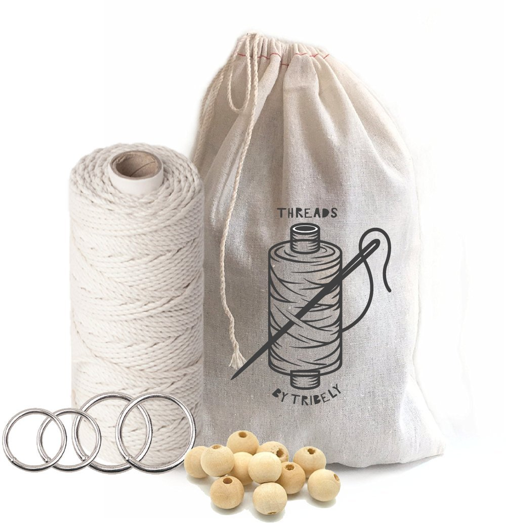 Beginner Handmade Modern Macrame DIY Kit | Supplies: 328 Feet 3mm Large White Cotton Cord, Wooden Beads, 4 Rings | Complete Set for Decorations: Plant Hangers Or Kitchen Curtain