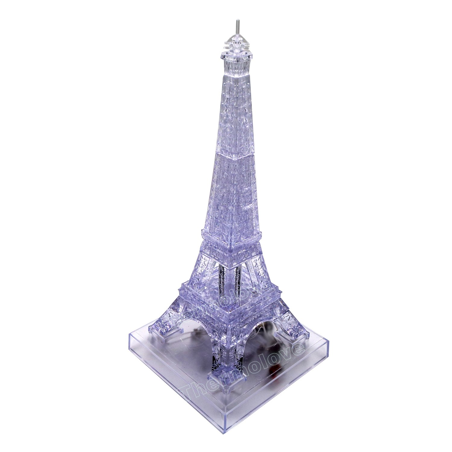 43 Thermolove 3D Decoration Model Toy Crystal Puzzle Game Toy Big Eiffel Tower with Music and Colorful Lights-Transparent