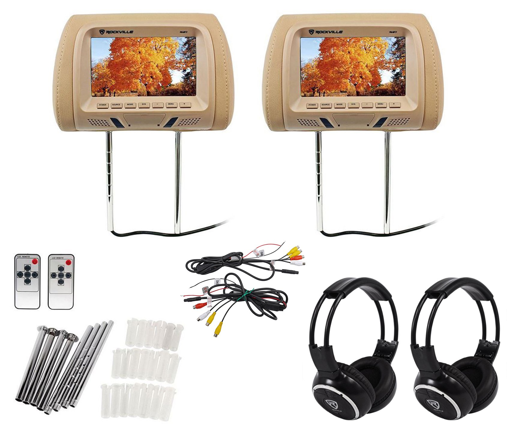 Pair Rockville RHP7-BG 7 Beige LCD Car Headrest Monitors + 2 Wireless Headsets