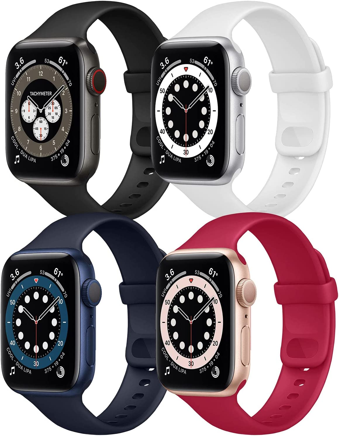 Hotflow 4 Pack Compatible with Apple Watch Bands 38mm 40mm for Women Men,Soft Silicone Sport Replacement Strap Compatible for iWatch Series SE 6 5 4 3 2 1(Rose Red/Black/Midnight Blue/White,Size-S/M)