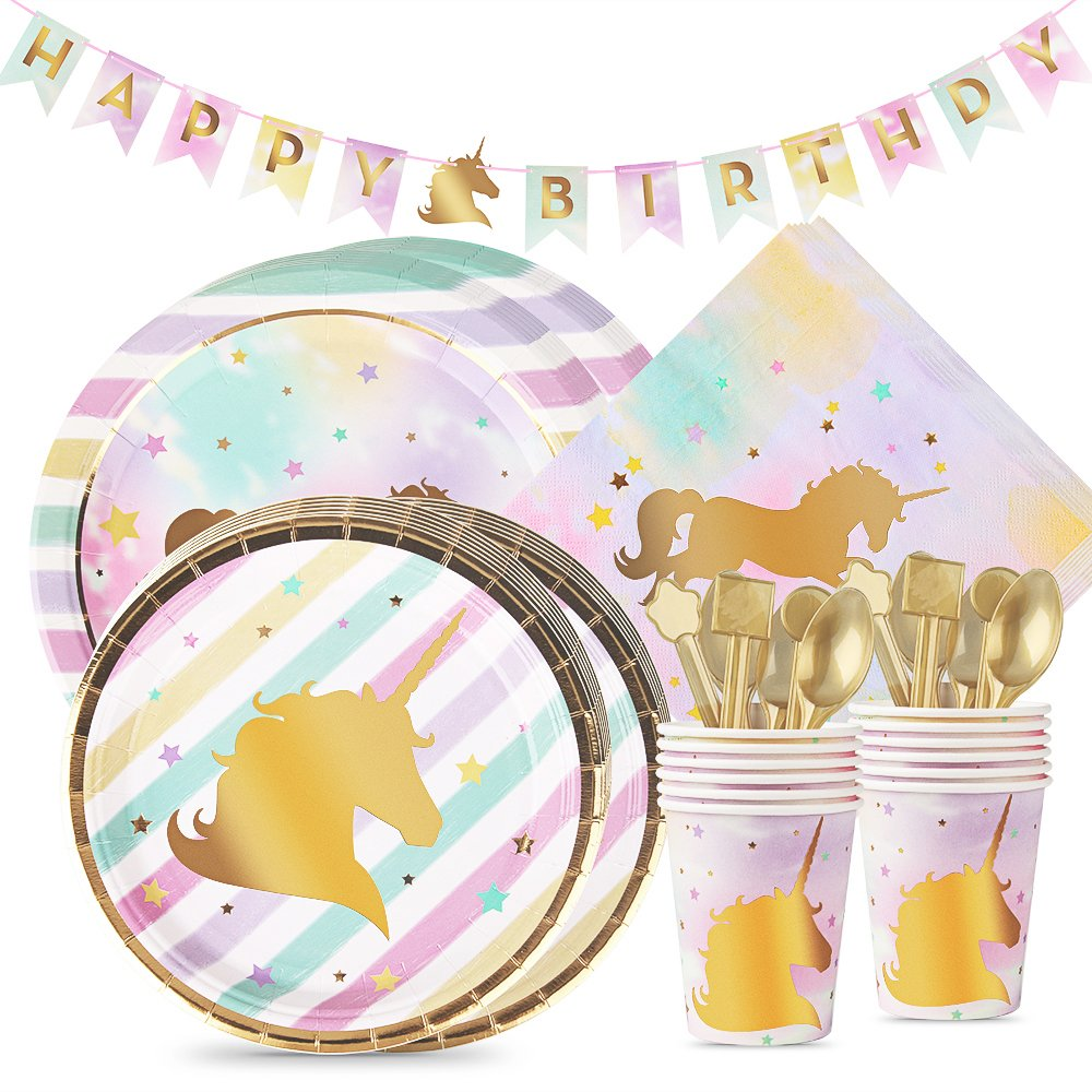 Unicorn Party Supplies Set, Opret Pastel & Gold Unicorn Theme Party Favors for Kids Birthday Party, Paper Plates, Cups, Napkins and Happy Birthday Banner, Serves 12 by Opret