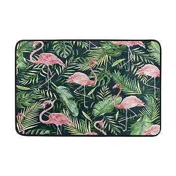 Ffy Go Badteppich Tropical Leaf Mit Flamingo Print Rutschfeste