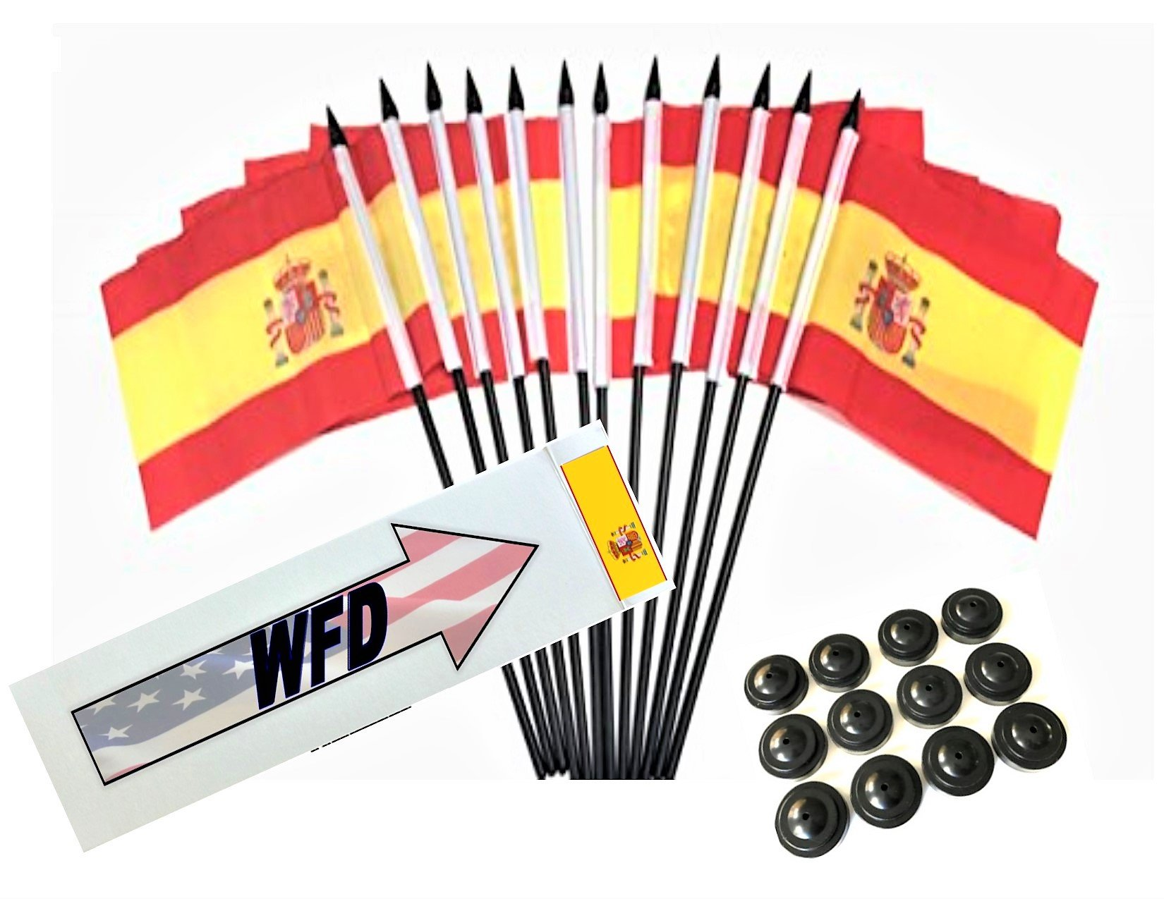 Box of 12 Spain 4''x6'' Polyester Miniature Office Desk & Little Table Flags, 4x6 Spanish Small Mini Hand Waving Stick Flags with 12 Flag Bases (Stands)