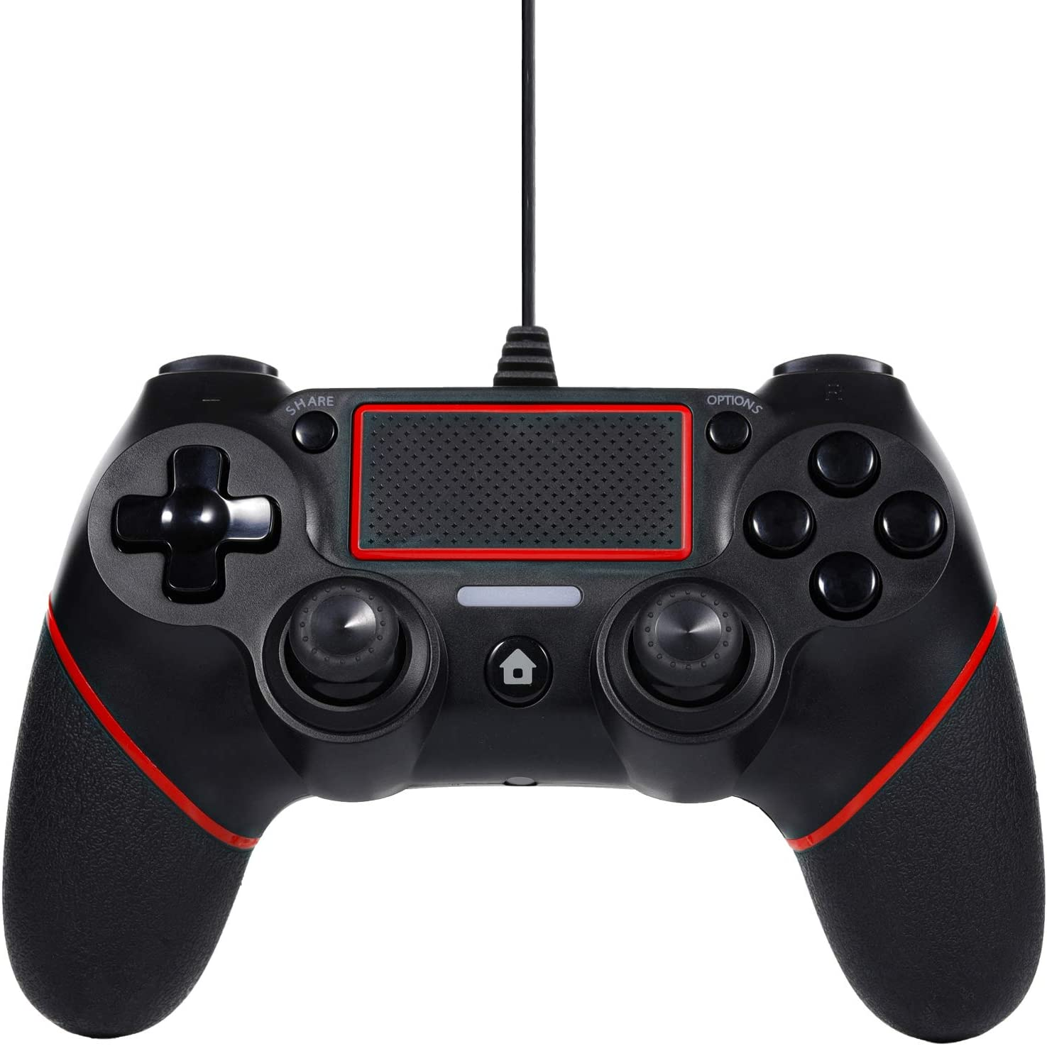Sefitopher PS4 Wired Controller for Playstation 4/pro/Slim/PC/Laptop with Functions Such as Vibration, Colored LED Indicator, Double Vibration and Anti Slip Grip,6.5ft Cable Length (Black Red)