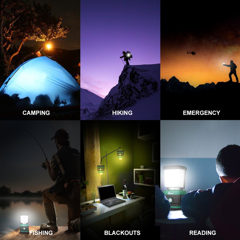 Odoland Ultra Bright 1000 Lumen Camping Lantern with Brightness Adjustment, Battery Powered LED Lantern of 4 Light Modes, Best for Camping, Hiking, Fishing & Emergency by Odoland (Image #9)