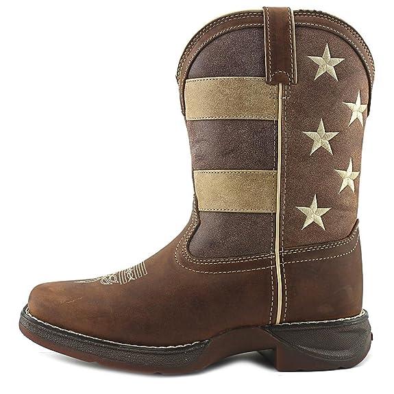 3f69517ff85 Durango Kid's Faded Glory Flag Western Boots, Brown Leather, 4 Big ...
