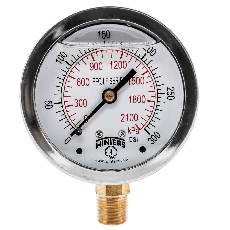 Winters PFQ807LF PFQ-LF Series Pressure Gauge, 2.5' Dial size, 1/4' NPT, 0/300 psi/kpa, Glycerin Filled 2.5 Dial size 1/4 NPT