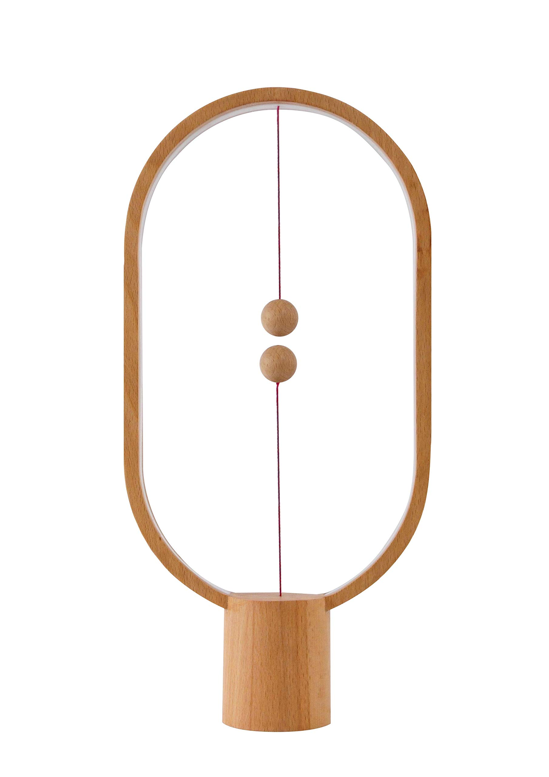 Heng Balance Lamp, Designer Table Lamp for Living Room, Bedroom and Office. Desk Lamp for Computer. Bedside Lamp for Nightstand. The Modern Ellipse Mood Lamp with Magnetic Switch in Air. (Wood)