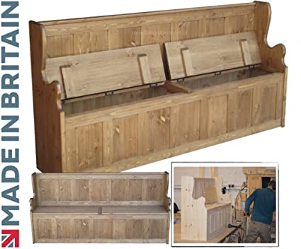 Fine Solid Pine Storage Bench 6Ft Wide Handcrafted Hallway Monks Bench Settle Pew With Lifting Lid Shoe Storage Seat Choice Of Colours No Flat Packs Machost Co Dining Chair Design Ideas Machostcouk