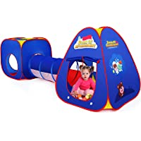 Barnens lektält med Playhouse Tunnel och tältpåse 3 i 1 Pop Up Play Tält Princess Tält för pojkar Flickor (blå)