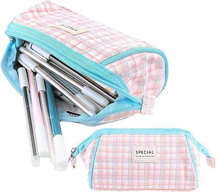 iSuperb Estuche Escolar Bolsa Pencil Case para Lapices Estudiante Plumier Colegio Pen Pencil Holder Lápiz Bolsa de Lona Gran Capacidad Estuche Lápices (Plaid rosa azul): Amazon.es: Oficina y papelería