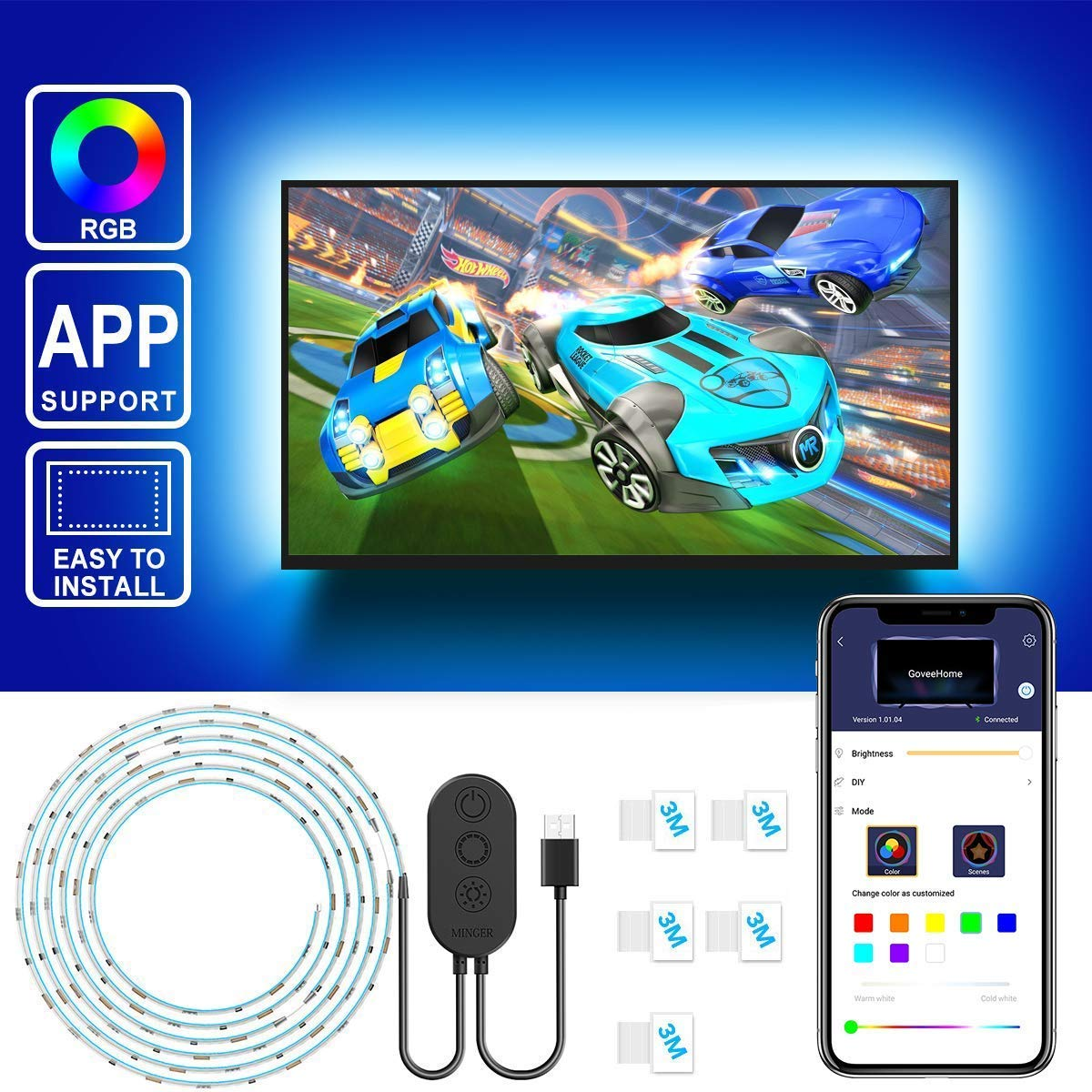 TV LED Backlights with APP, Govee 6.56FT RGB LED Strip Lights 5050 TV Lights Kits, Multi DIY Color Accent LED Strips with 3M Tape and 5 Clips, Adjustable Brightness and USB Powered (40''-60'')