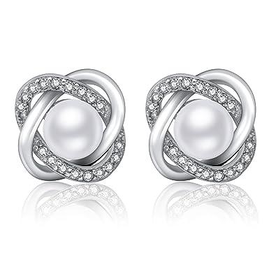 9e5a35ccc3b0 Twinmond Pendientes Perlas Mujer Plata de Ley 925   El Lenguaje del  corazón