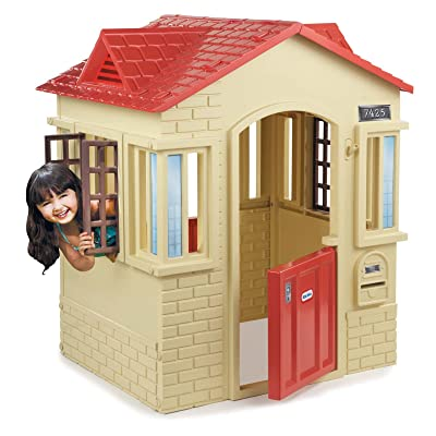 Little Tikes Cape Cottage Playhouse, Tan Finished, Garden, Outdoor, Contemporary Style, 2 Doors, Backyard, 2 Windows, Plastic, Bundle with Our Expert Guide with Tips for Home Arrangement: Toys & Games