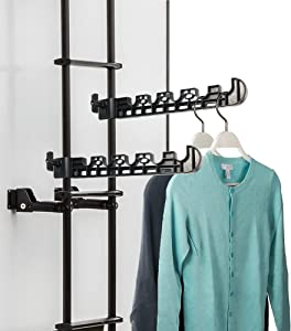 Titangear 2 Packs Portable RV Clothes Drying Rack, Camper and Trailer Dryer, Easy Clamp on RV Ladder 1 inch Diameter Tubing, No Drilling, Hang 5 Clothes Up to 45 Lb, Clothes Dryer, ABS, Black