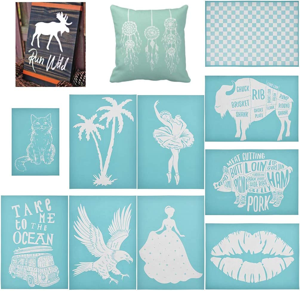 YeulionCraft DIY Self-Adhesive Silk Screen Printing Stencil Mesh Transfers for Decoration Wooden Board,T-Shirt,Ceramic Tile,Pillow Fabric,Painting Coconut Tree