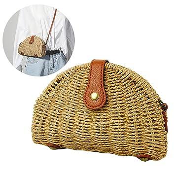 Majome Mujer paja hombro bolsa semi-círculo billetera casual bolso playa viajes bandolera bolsas