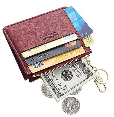 Womens Leather Slim Card Case Holder Front Pocket Wallet Change Purse