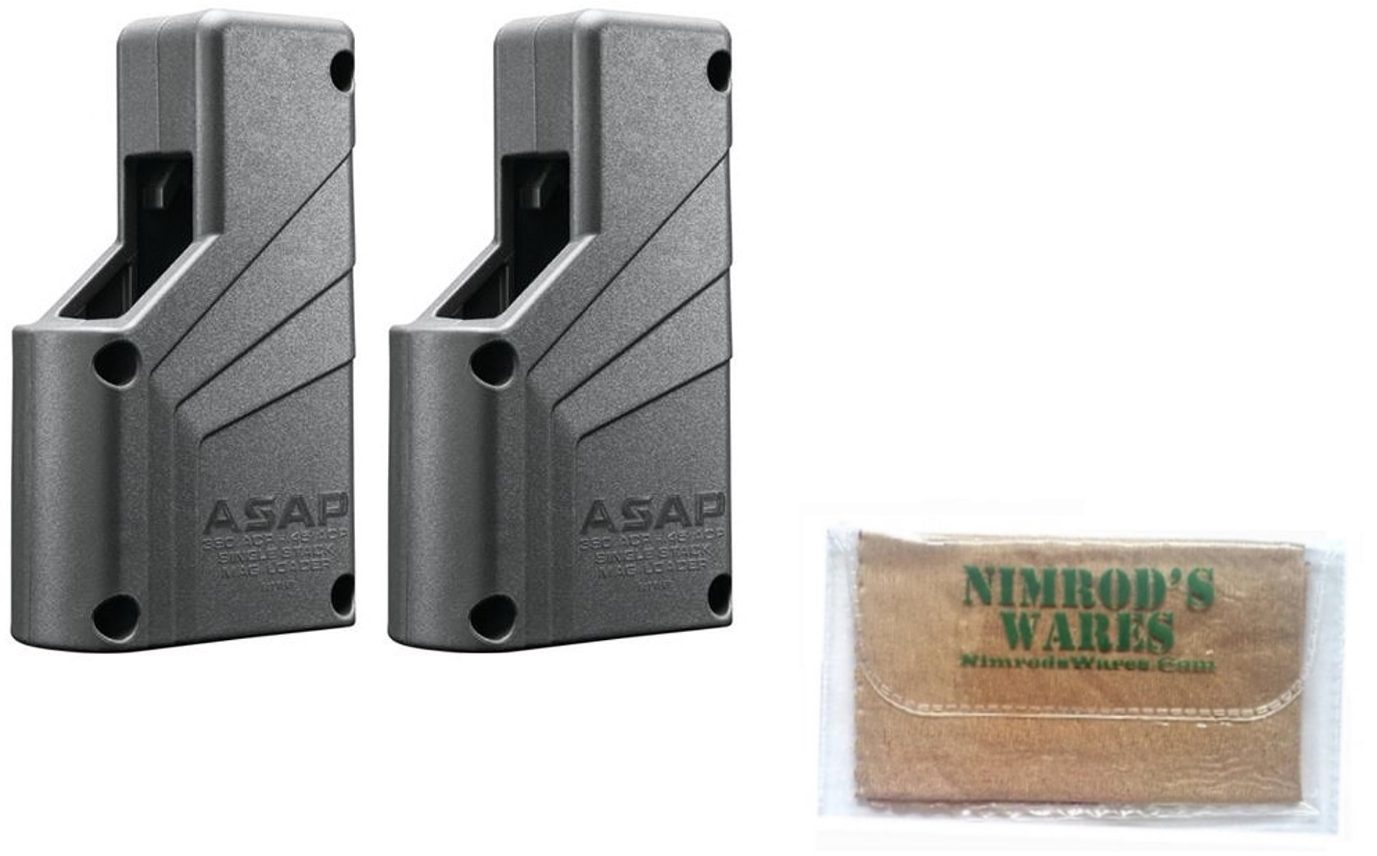 Nimrod's Wares 2-Pack Butler Creek ASAP Single Stack Magazine Loaders 9mm-.45ACP Microfiber Cloth