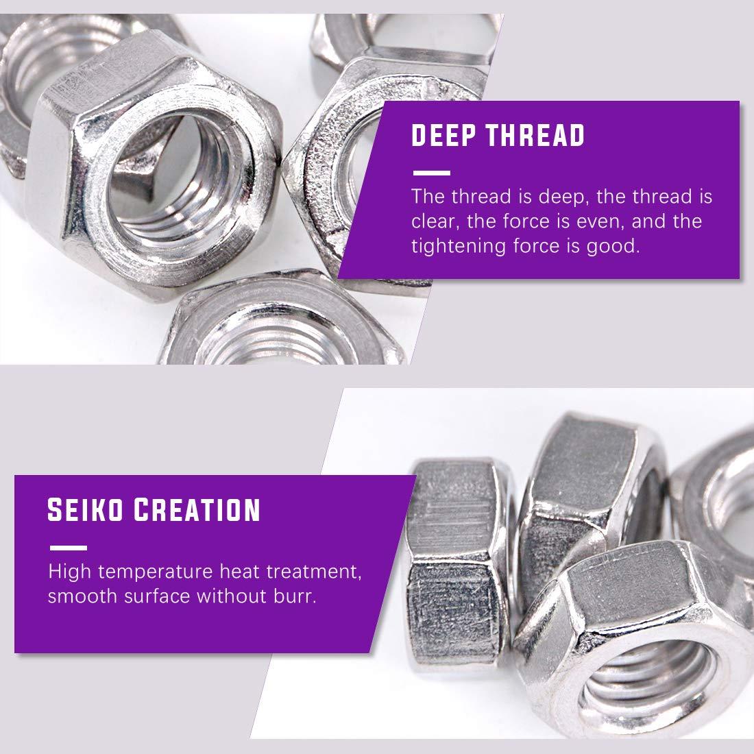 Coarse Thread Hexagon Nut 9 Sizes M2 M2.5 M3 M4 M5 M6 M8 M10 M12 Swpeet 20Pcs M12 Metric 304 Stainless Steel Hex Nuts