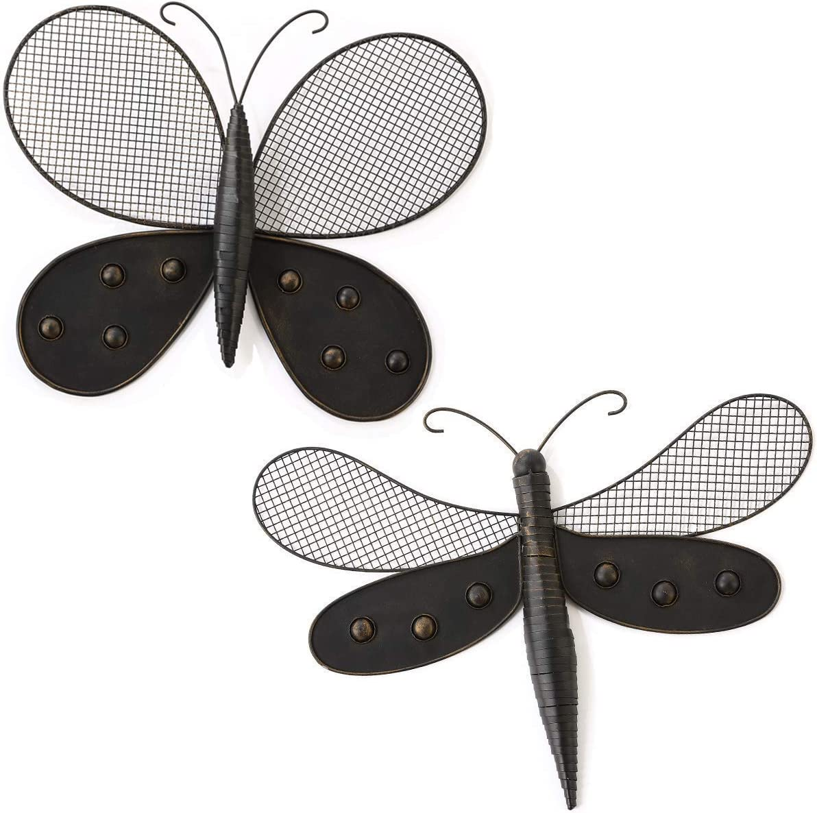 Lechesis Dragonfly and Butterfly Metal Wall Art Decor Sculptures Indoor Outdoor(Set of 2), Bronze