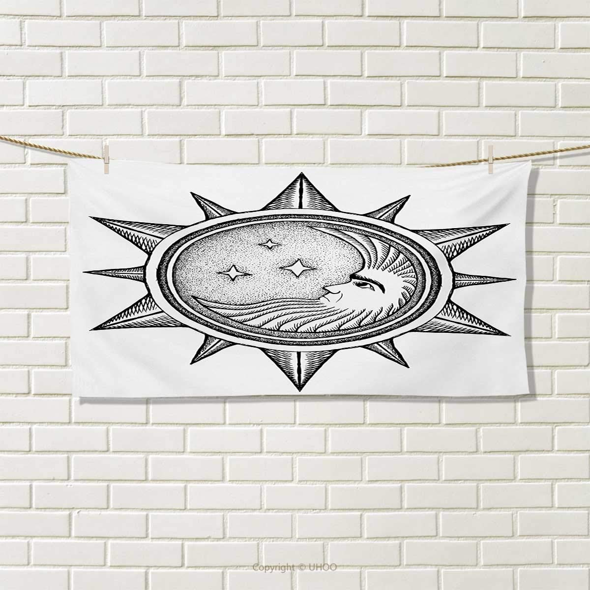 Occult,Hand Towel,Moon Inside The Sun with Stars Alchemy Clandestine Esoteric Solar Crescent Artwork,Quick-Dry Towels,Black Grey Size: W 20'' x L 20''