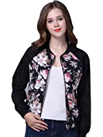 Choies Women Dark Blue Tropical Floral Print Pockted Bomber Jacket Coat Outwear