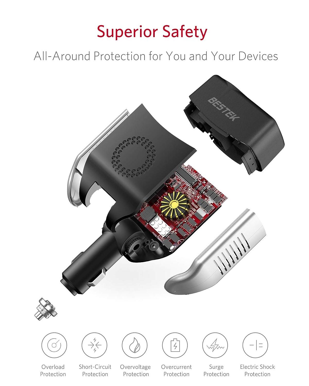 BESTEK 75W Inverter per Auto 12V a 220V Spina Accendisigari Regolabile Convertitore di Potenza con 2 Porte USB e 1 Presa AC per iPhone iPad Tablet