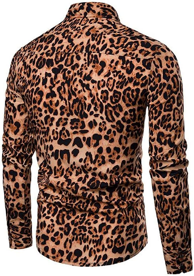 Domple Mens Club Slim Fit Leopard Print Button Down Long Sleeve Plus Size Dress Shirts