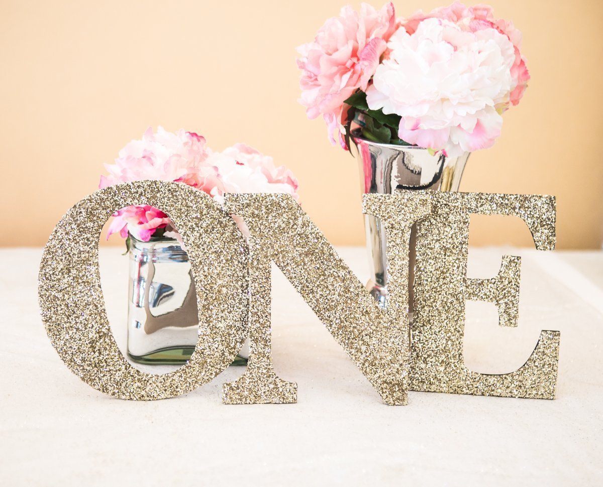 ONE Sign First Birthday Sign in Glitter - Wooden ONE Letters First Birthday Princess Birthday Decor in Glitter One Letters